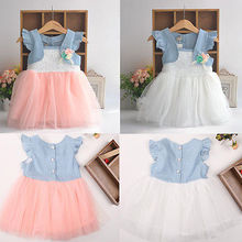 Baby Girls Kids Party Flower Denim Tulle Stitching False Two-piece Dresses New Arrival