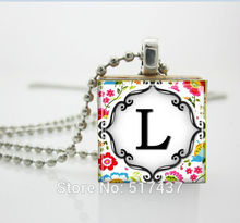 Necklaces Pendants Vintage,Letter of Your Choice on Bright Floral Pattern Scrabble Tile Pendant ,Wood Necklace(China (Mainland))