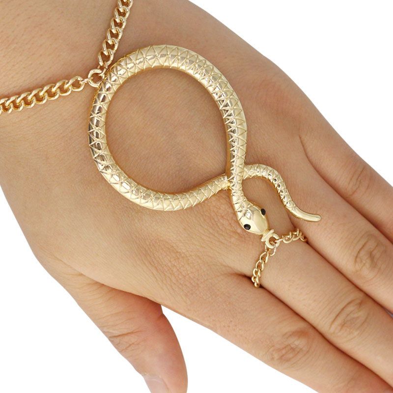 2016 New Arrival European Style Womens Snake Adjustable Finger and Hand Chain Bracelet One Size Statement Jewelry(China (Mainland))