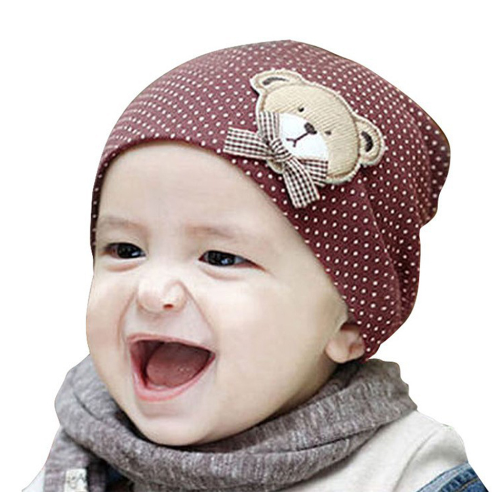 Cute infant hat baby boys girls kids bear polka dots knit winter hat candy color beanie cap for baby(China (Mainland))