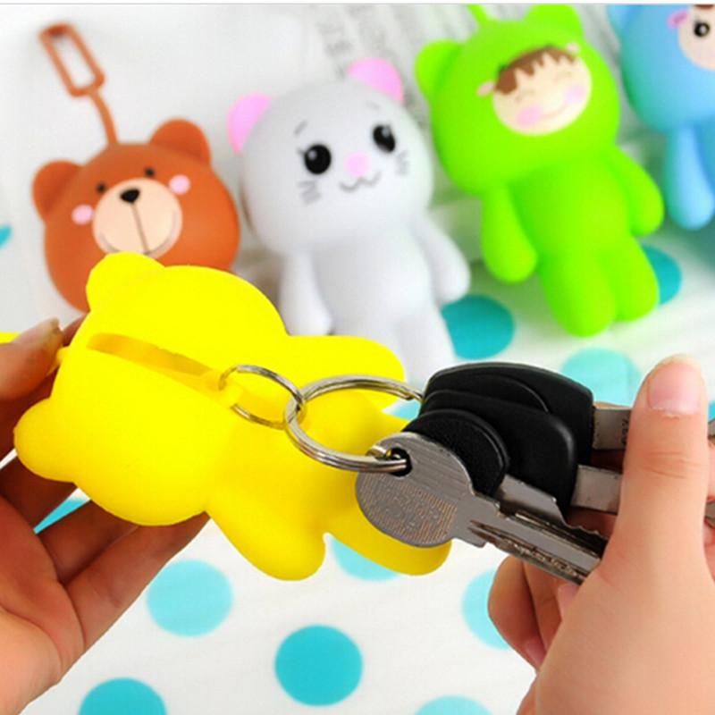 2016 hot sale silicone car key holder key bag holder cute gray cat bear panda pendant for bag man keychain cover(China (Mainland))