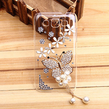 Buy New Fashion Butterfly Plastic bling Crystal Transparent skin cell phone back cover hard case Samsung Galaxy J3 for $4.19 in AliExpress store
