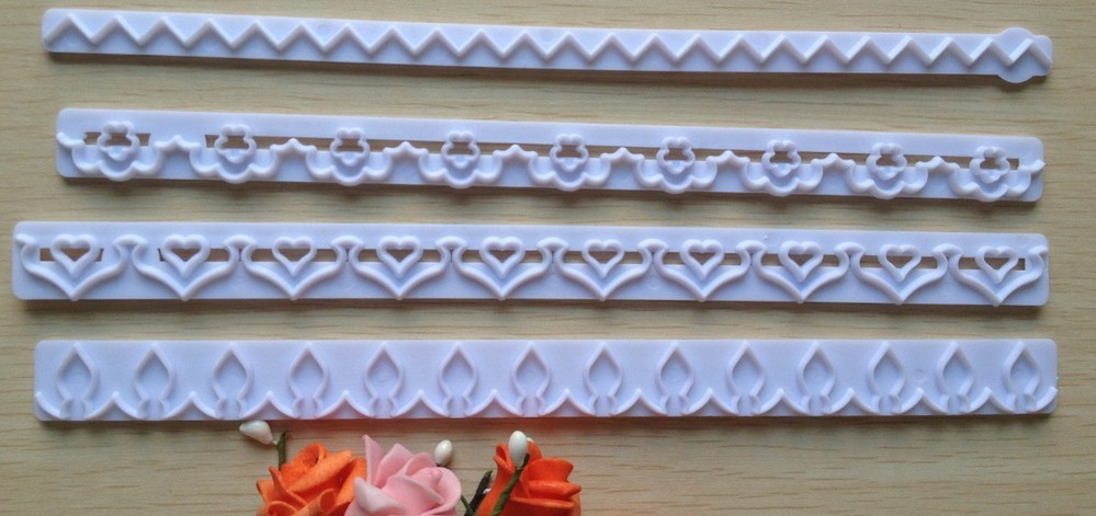 Free shipping New Straight Frill Cutter Embossed Mold Heart, Flower, Lace Shape(China (Mainland))