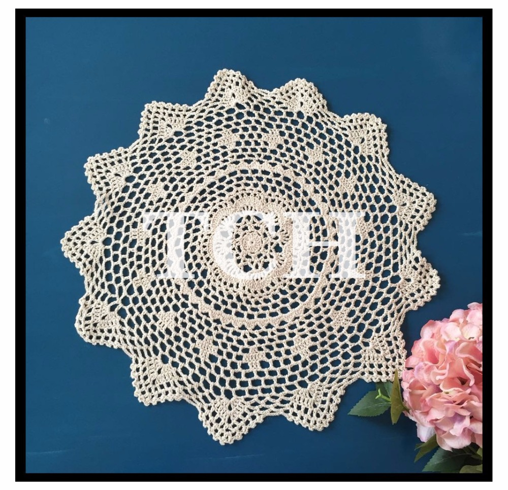 Free shipping IKEA fashion cotton crochet lace table cover for home decor tablecloth with flower round table mat dinning table(China (Mainland))