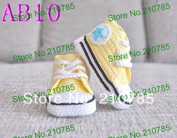 Free shipping Popular sport shoes design crochet baby shoes.100% cotton light yellow &amp; white baby toddler shoes 150pairs<br><br>Aliexpress
