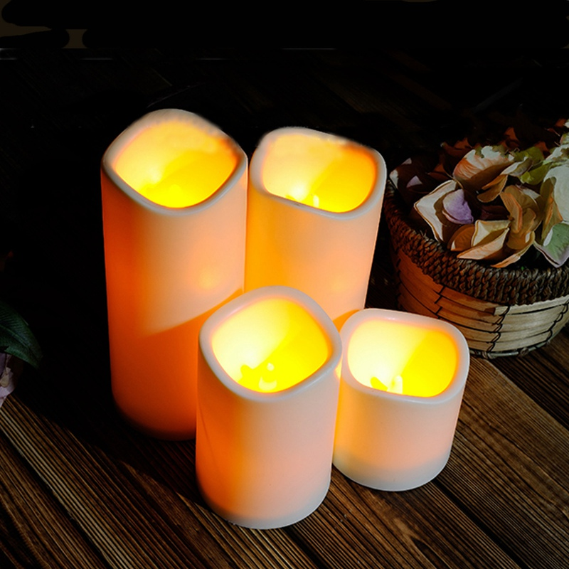 Cylindrical Flickering Flameless Pillar LED Tealight Candles Night Lights Lamp Battery Operated For Home Wedding Party Decor(China (Mainland))