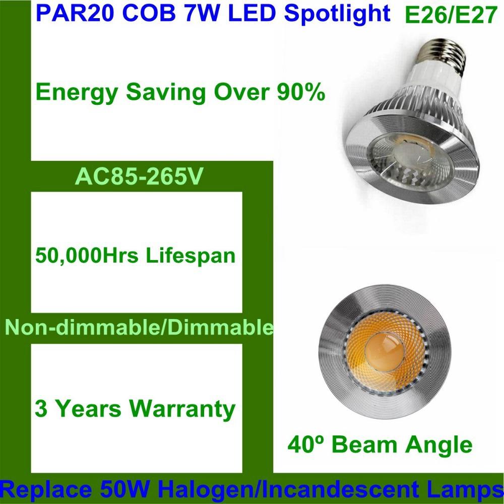 10pcs/lot LED Lamp E27 E26 PAR20 7W COB LED Spotlight COB LED Bulb Light Non-dimmable Replace 50W Halogen/ Incandescent Lamp(China (Mainland))