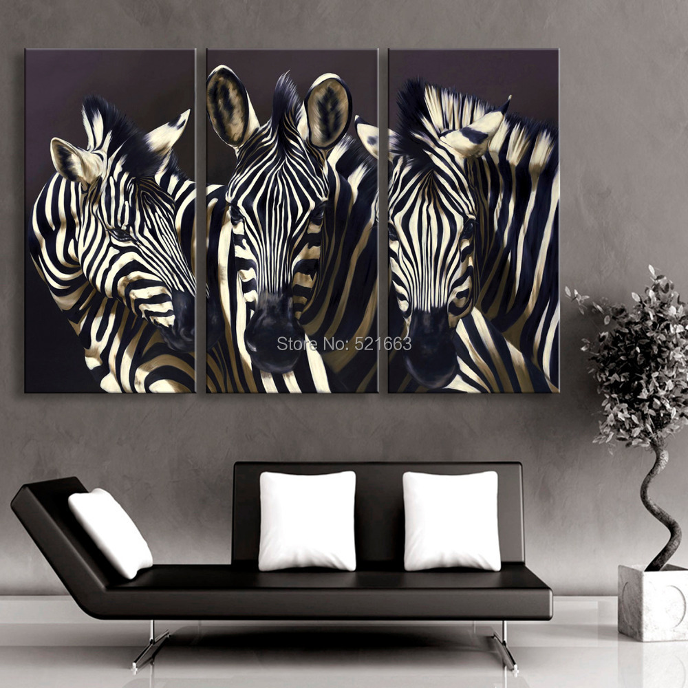 Free Shipping E-HOME Oil Painting Zebra Decoration Painting Set of 3 Home Decor On Canvas Modern Wall Prints(China (Mainland))