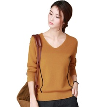 Buy 2017 spring summer V-neck collar Pullover solid solid balck strip long sleeve Jumpers loose brown color sweaters women for $20.52 in AliExpress store