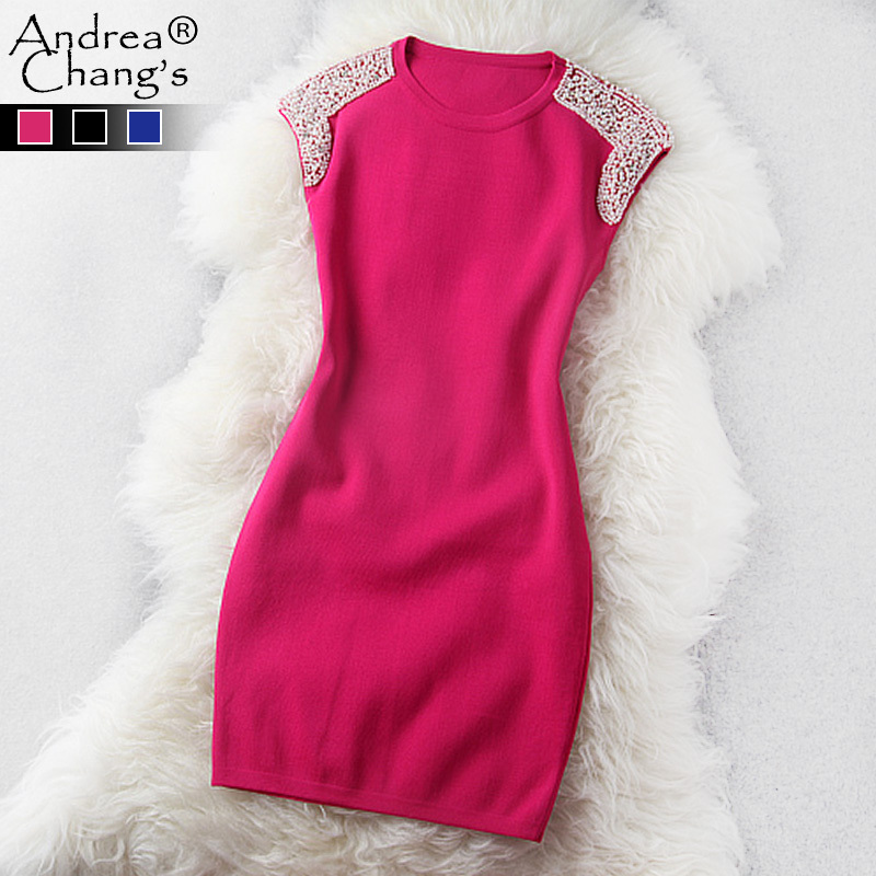 2013 autumn winter women's dresses pink yellow blue black stretchy slim pearl beading shoulder fashion vintage brand event dress(China (Mainland))