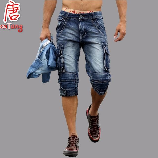 2016 летние мужские ретро джинсовые шорты свободного покроя мыть хлопок мода короткие ...