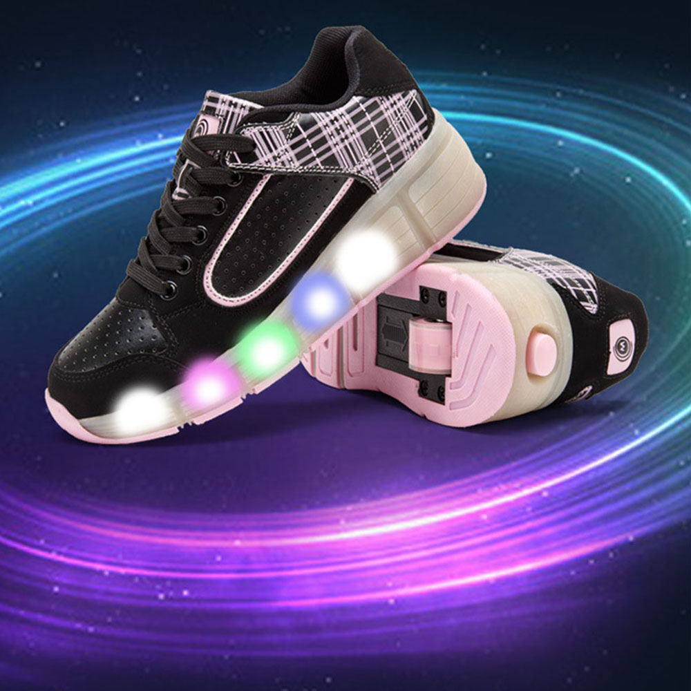 Supper Popular Led Light Heelys Children Shoes with Wheels Kids Roller Skates Shoes Sneakers for Boys Girls Sneaker Pink Black(China (Mainland))