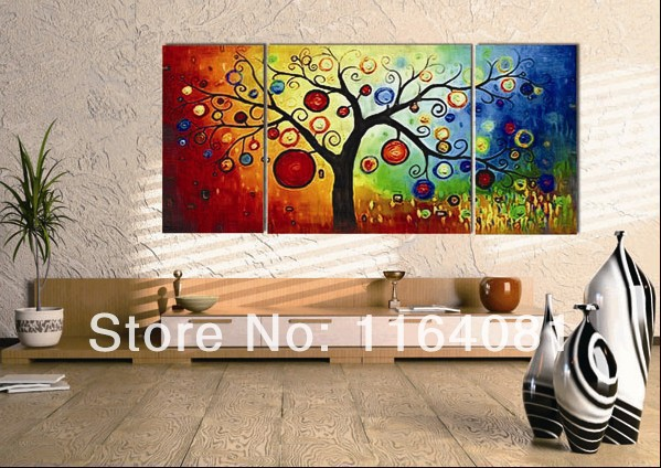 3 Panels Free Shipping Abstract Oil Painting Of Tree Wall
