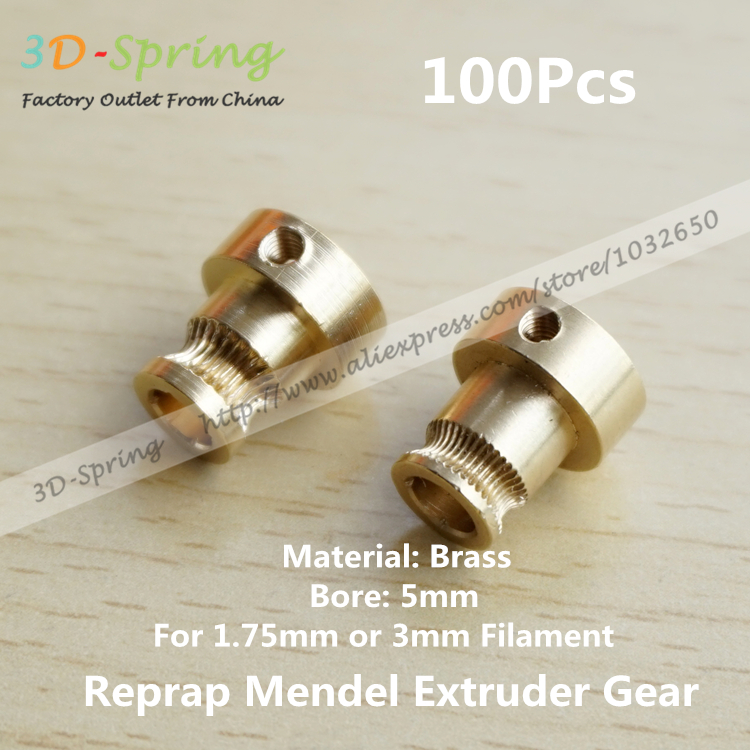 100Pcs Reprap Mendel Extruder Drive Gear For 1 75mm 3mm Brass Bore 5mm 3d Printer Feeding