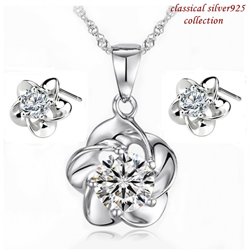 2015 Gift Wedding Jewelry Sets 925 Real Sterling Silver Zircon Necklace/Earrings Set ST0004 - More than Shopping store
