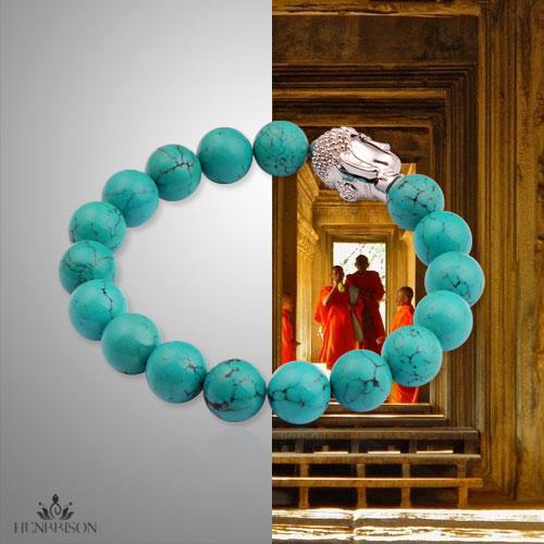 Blue porcelain hongxin human resource turquoise 925 pure silver buddha head bracelet soporific<br><br>Aliexpress