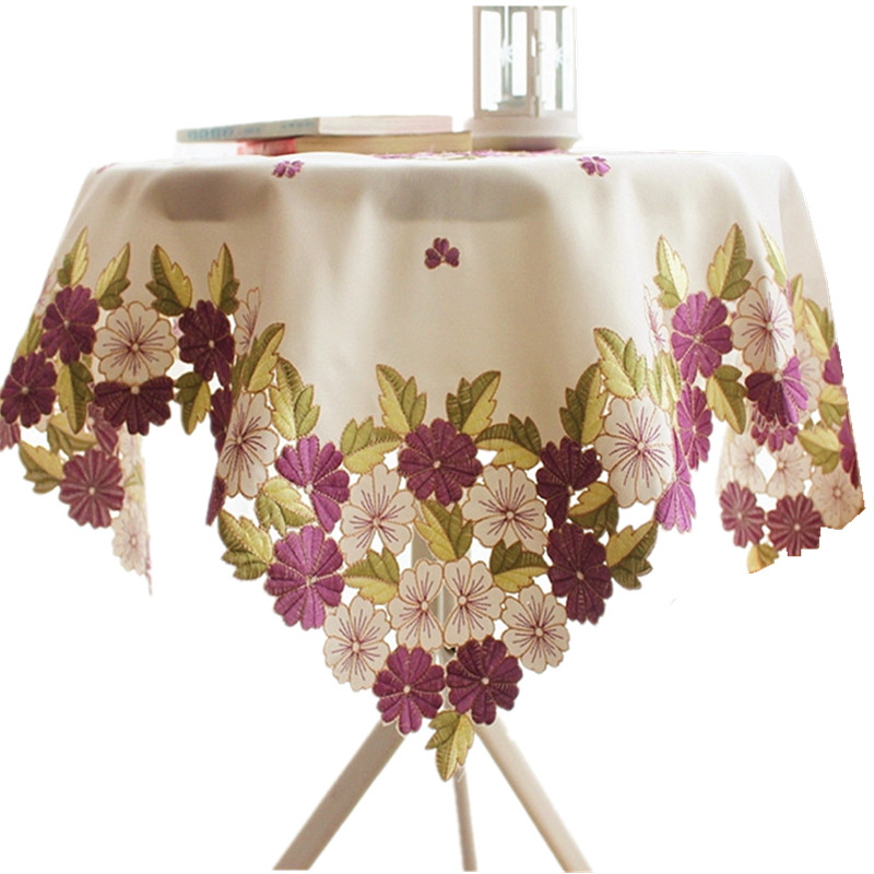 [WIT]110x110cm Round Tablecloths Cutwork Handmake Embroidered Tablecloth Purple Floral Table cloths Elegant Table Topper Cover(China (Mainland))