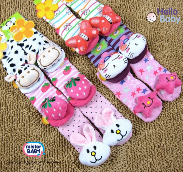 6 pair/lot 12 designs available size 0-2/ 2-4 New style Baby Anti-slip Walking Socks Children's baby sock kid gift