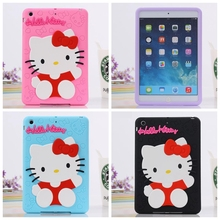 "3D Cartoon Hello Kitty Soft Silicone Back Cover Case For Apple iPad Mini 1 2 3 7.9"" Tablet Cases For KIDS Gift(China (Mainland))"