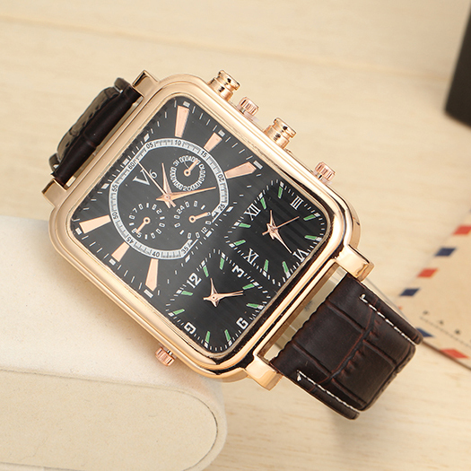 Unique design, the new 2015 men watch, three table, outdoor global travel fashion watches, square dial leather strap men's watch(China (Mainland))