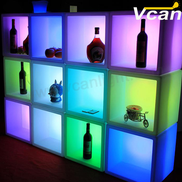 glowingstoragecontainerLEDicebucketlightupcubeledbookshelf
