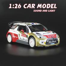 Diecast Metal Model Toys 1:26 CITROEN Ds3 WRC Sound Light Pull Back Racing Car(China (Mainland))