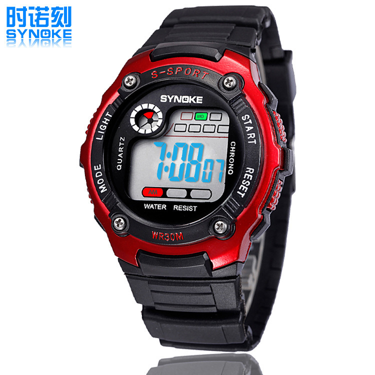 Direct Japanese PU double movement 50 meters waterproof electronic sports watch swimming led boy young lover watches(China (Mainland))
