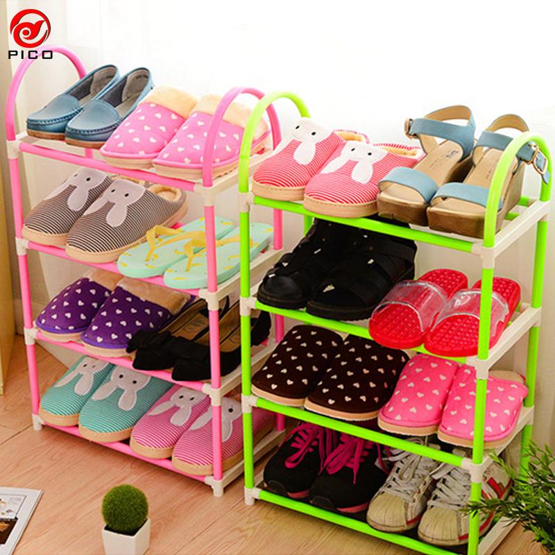 4-layer portable Plastic shoes rack Detachable Storage Shelf living room furniture 3 colors available shoe sgelf ZL301-1(China (Mainland))