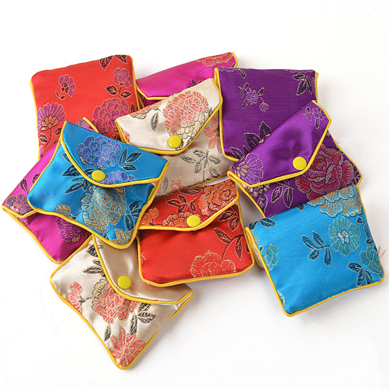 Cheap Chinese style Mini Zipper Jewelry Pouches Silk Printed Coin Purses Storage Bags size 6 * 8 cm 120pcs/lot mix color <br><br>Aliexpress