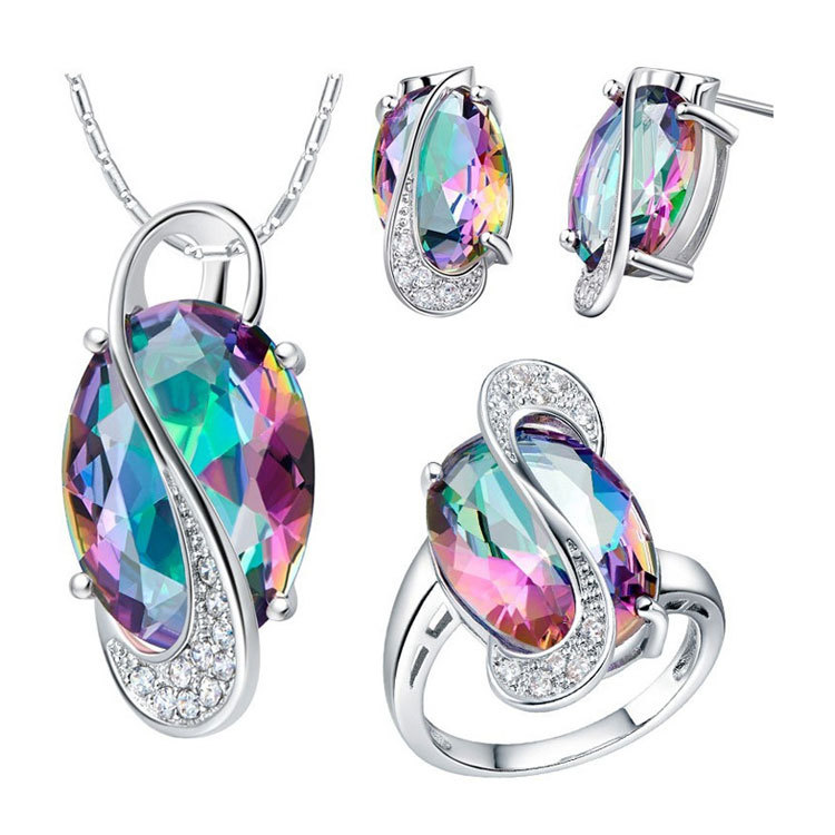 925 sterling silver Jewelry Sets for women Two colors CZ Diamond Wedding African Bridal Simulated Gemstone Jewerly Sets  D0651(China (Mainland))