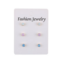 Fashion 3 Pair/Set Stud Earrings Set Imitation Pearl Crystal CCB Gold Earring Lots of Earrings For Women Girls Jewelry Wholesale(China)