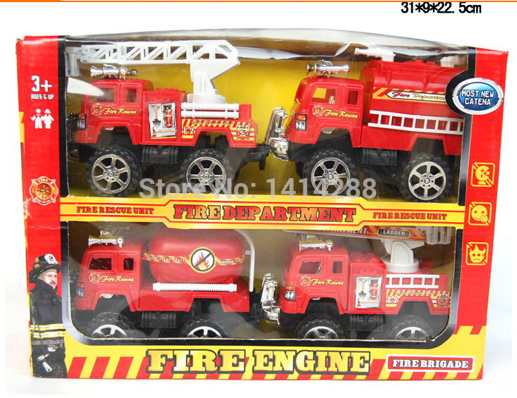 Free Shipping wholesale Children's toys Fire Truck Best Gift For Children Car Model Baby Toys Kids Educational Toy 4 pcs/set(China (Mainland))