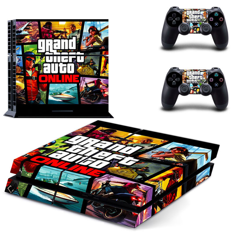 1set skin sticker ps4 grand theft auto v gta 5 logo vinyl skin for ps4 console 2pcs controller. Black Bedroom Furniture Sets. Home Design Ideas