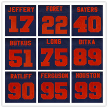 22 Matt Forte 95 Richard Dent 13 Kevin White 89 Mike Ditka 51 Dick Butkus Navy blue 55 Lance Briggs orange number 40 Gale Sayers(China (Mainland))