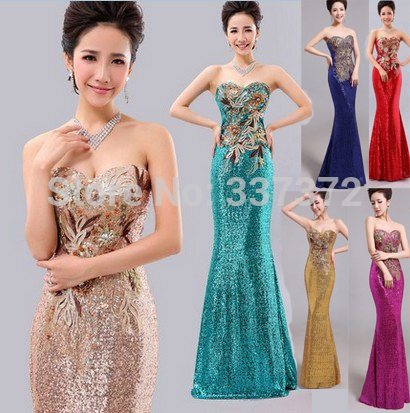 New 2015 Blue Long Sequins Print Evening Gowns Women Strapless Evening Dresses For Party Over(China (Mainland))