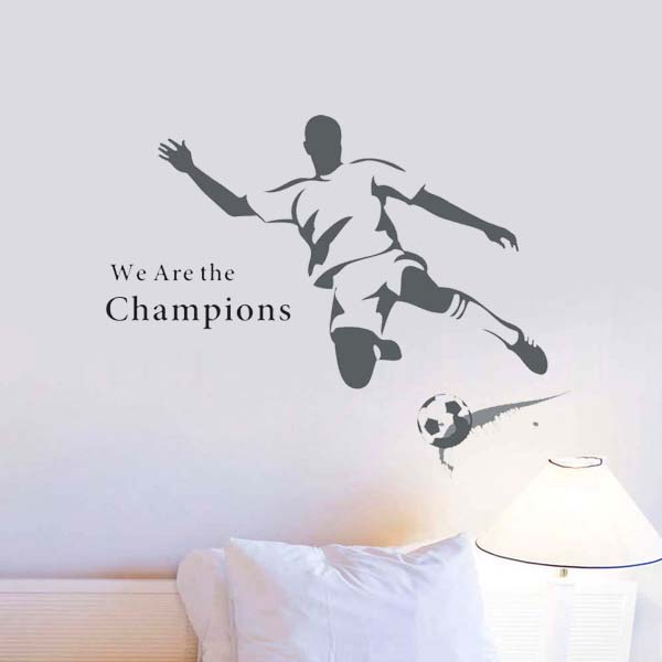 2016 New The World Cup Large Soccer Football wall sticker for kids rooms Boys Art Vinyl decals Removable Sport Poster home decor(China (Mainland))