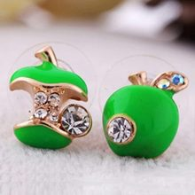 Apple Earring- Fashion Hot Sale New Female Small Enamel Crystal Cute Red Green Apple Earring #1796086(China (Mainland))
