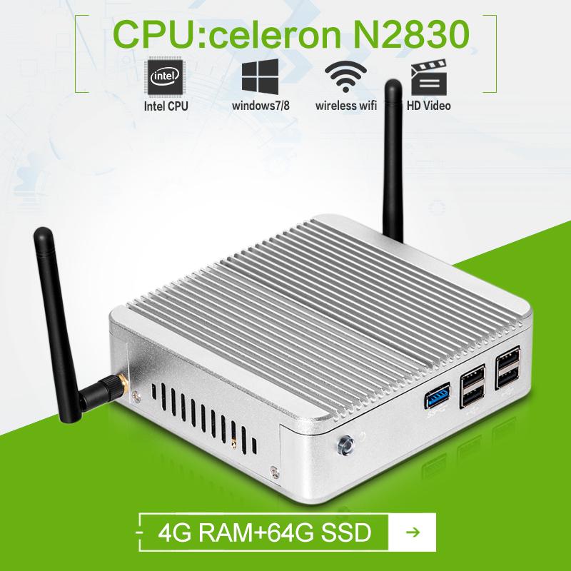 Factory price ! hot selling! mini linux server mini pc dual-core Celeron N2830 1.83GHZ 4g ram 64g ssd windows7 fanless htpc(China (Mainland))
