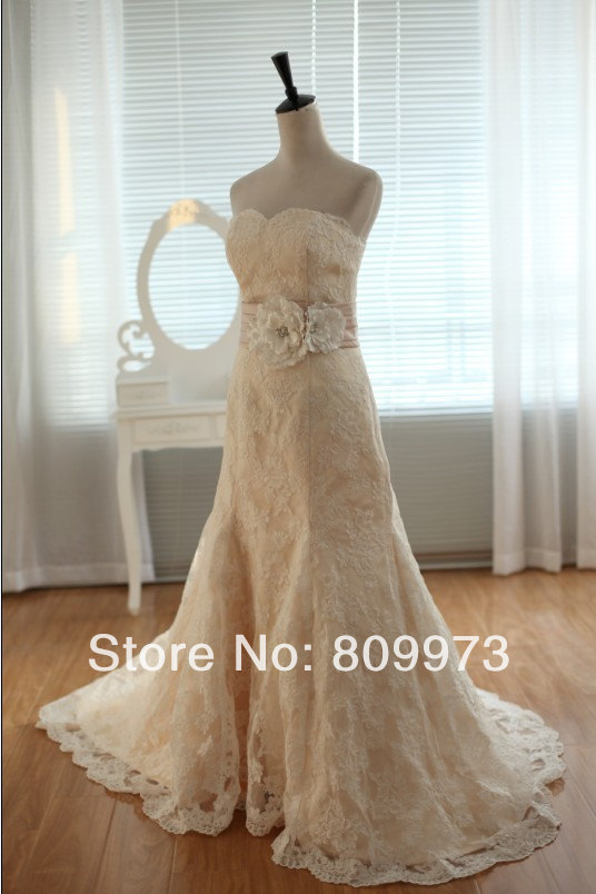Vintage ivory lace champagne lining wedding dress bridal for Ivory wedding dress sash