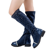 Size 26-37 Retail Trendy Princess Elegant Rhinestone Girl High-Leg Boots Autumn Winter Female Children Cotton Anti Slip Shoes
