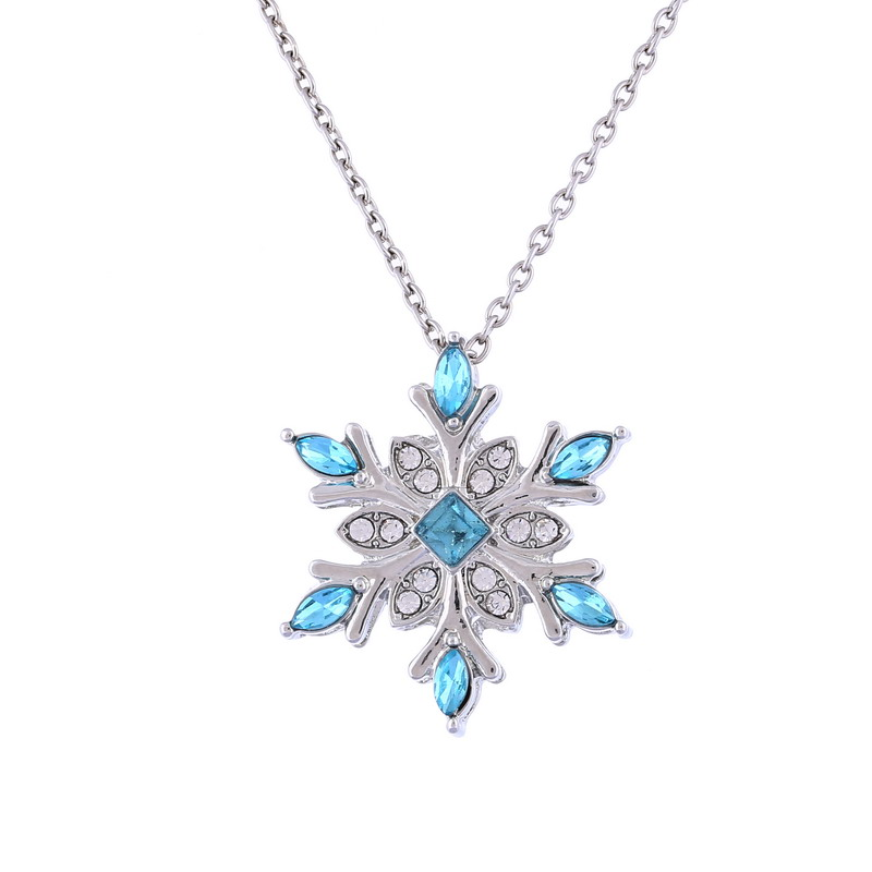 Sunshine vintage Blue Crystal Snow flake Flower Silver Necklaces & Pendants Jewelry for Women girl best gift(China (Mainland))
