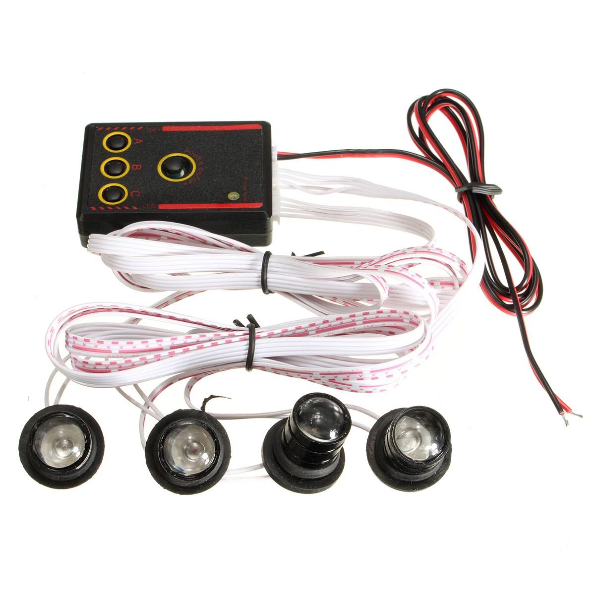 New Car Styling 4 Bulbs Led Flash Strobe Light Flashing lights for Cars Day Light Brake Reverse Lamp(China (Mainland))