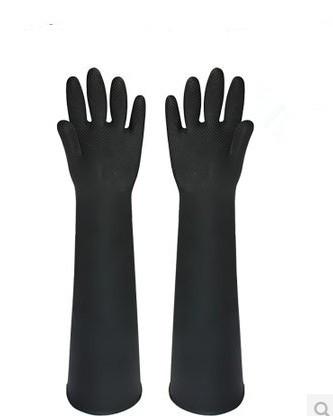 Wholesales--60cm sandbars machine gloves sand rubber gloves shot blasting machine gloves glossy Much Thicker More Durable Black(China (Mainland))