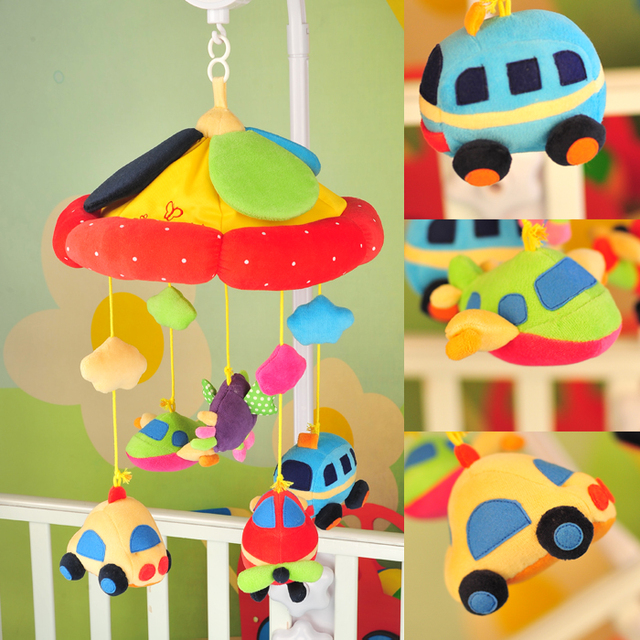 High quality Korea Style Music Car Rotating Music Box Baby Bed Bell Plush Fabric Bed Hanging Toy baby bed music mobile