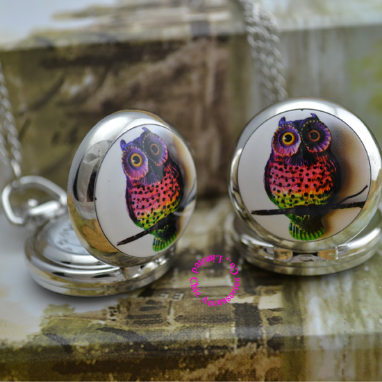 Minimum order amount US$15 (can mix order) silver mirror sketch drawing cute colorful owl chain pocket watch necklace hour<br><br>Aliexpress