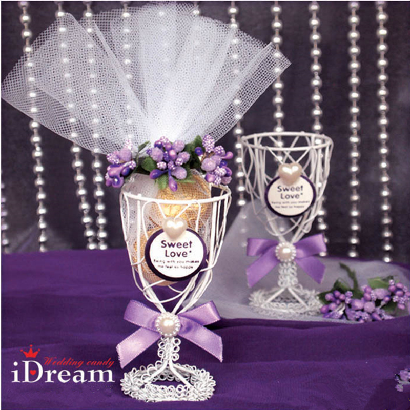 European Iron wine glasses goblet exclusive candy box with purple floret(China (Mainland))