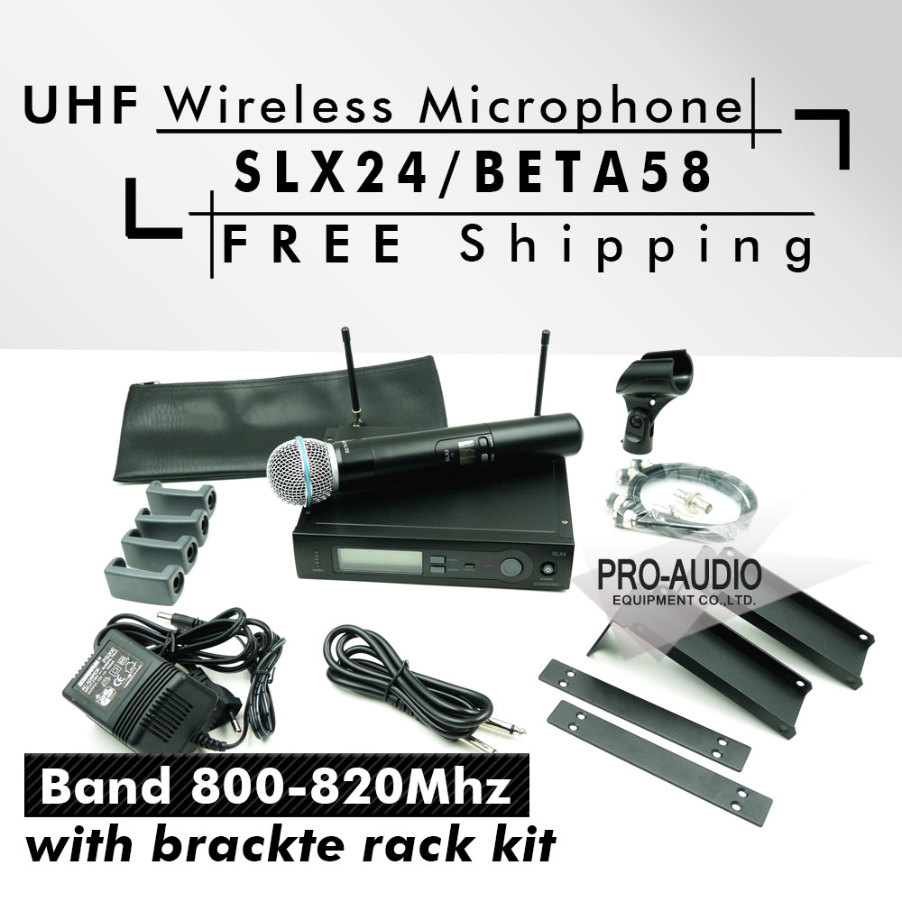 Free Shipping! UHF SLX24 BETA58 Handheld Karaoke Wireless Microphone System SLX with all rack kit accessories R5 Band 800-820Mhz(China (Mainland))
