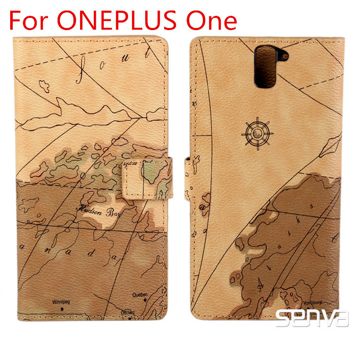 2015 Real New Arrival Pu Cell Phones Free Shipping + Original Flip Map Pattern Case Cover For Oneplus / One Plus A0001 Phone(China (Mainland))