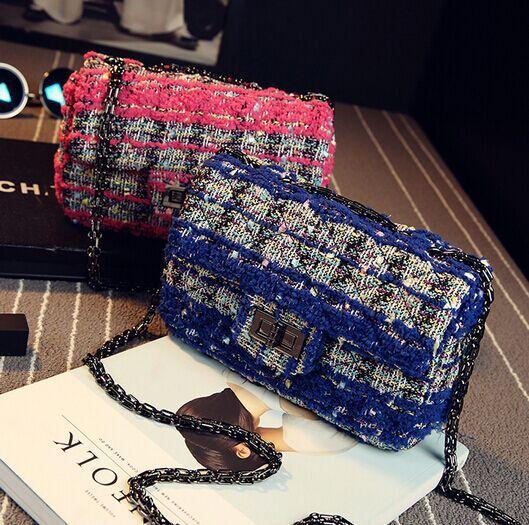 Розовый синий плед хит цвет швейные нитки цепи сумочка, Тяжелая роскошный высококачественный твидовые плеча сумку
