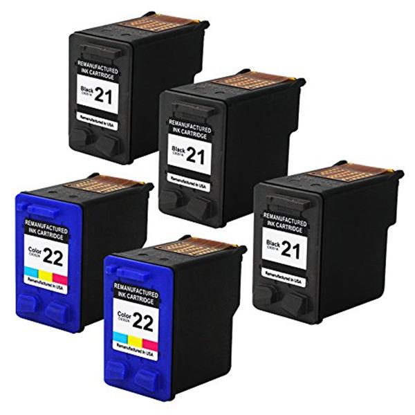 5Pcs/set  For HP 21 22  Ink Cartridges for HP Deskjet 3915 3920 D1530 D1320 D1311 D1455 F2100 F2280 F4100 F4180<br><br>Aliexpress